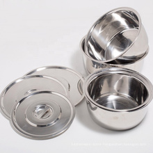 small kitchen tool mirror polished stainless steel soy sauce salt bowl with cover