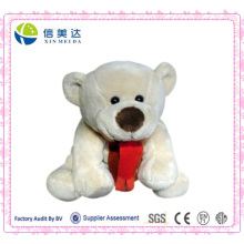 Adorable Scarf Bear Plush Toy 30cm Light Yellow