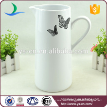 Black butterfly decal white ceramic bathroom jug