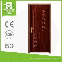 Puerta de madera decorativa del pvc interior del protetion de la corrosión con diseño principal de la puerta de China