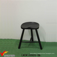 Black Hand Painted Wooden Bar Antique Decorative Stools