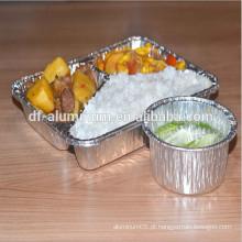 Bandeja de alumínio Bandeja / caixa de comida, embalagem de alimentos Almofada de alumínio Lunch Box escola usar bandeja de refeição descartável