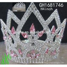 Novos designs rhinestone royal accessories custom tall tallant crown tiara