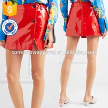 Nueva moda de cuero rojo Wrap Mini falda DEM / DOM fabricación al por mayor de moda mujer ropa (TA5144S)