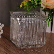 Recipiente de vela de vidro estampado quadrado