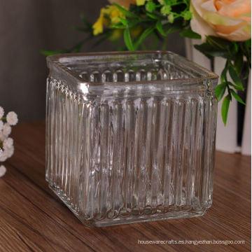 Contenedor de velas cuadradas de vidrio modelado