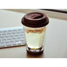 Hand Made Double Wall Portable Coffee Tea Cup with Silicon Rubber and Lid