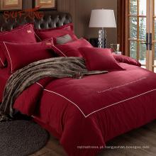 Rosa vermelha romântico para sempre votos 100% algodão conjunto de folha de cama de casamento
