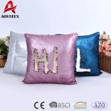 Mode lettre design motif deux tons paillettes décoratifs à la maison coussin, coussin de canapé