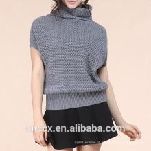 15STC6505 100% cashmere sweatershirt mangas curtas