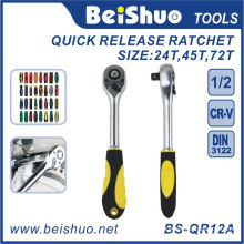 Quick Release Ratchet Wrench with Rubber Handle for DIY
