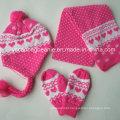 100% Acrílico Knit Beanie & Conjuntos de lenço e luva