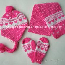 100%Acrylic Knit Beanie&Scarf&Glove Sets
