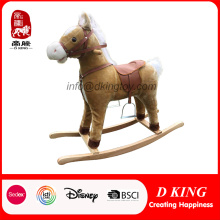 Indoor Playground Wooden Toy Spring Plush Rocking Horse com som