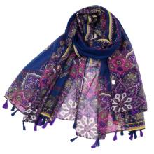 Fournitures d'usine commerce extérieur grande fleur imprimée foulard floral de voile avec des glands