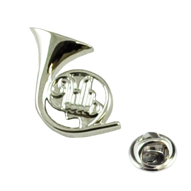 Silver French Horn Musical Instrument Lapel Pin Badge