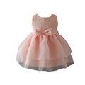Hot Sale Korean Cotton Pink Rose Flower Little Girl Wedding Dresses