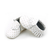 Kvalitet Real Leather Gold Dots Baby Moccasins