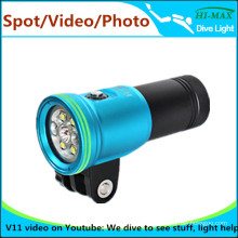 Up to 100M underwater scuba 32650 Wide angle beam diving Light with ball head stand