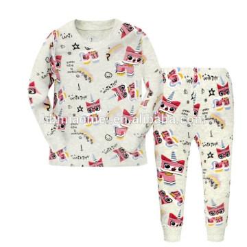 Top moda linda historieta impresa estilo niños de dos piezas pijamas de dormir