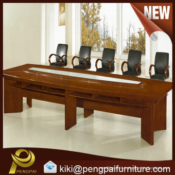 big size wooden/veneer/solid wood meeting/conference table with glass and mic