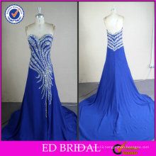 Shining Crystal Royal Blue Real Sample Evening Dress