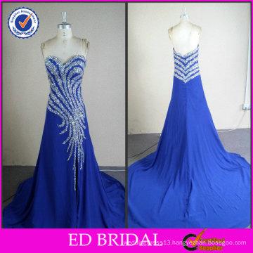 Shining Crystal Royal Blue Real Sample Evening Dress