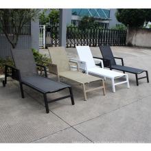 Chaise longue en aluminium pour l'extérieur avec roue et coussin