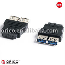 Main board 20pin to 2ports USB3.0 converter