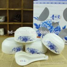 Tazón de la ensalada de cerámica, vajilla tipo cuenco de bebé, cuenco de cerámica verde con calcomanía, tazón chino azul
