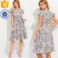 Flutter Sleeve Ruffle Hem Calico Print Dress Manufacture Wholesale Fashion Women Apparel (TA3162D)