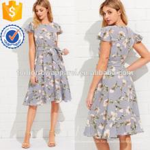 Flattern Ärmel Rüschensaum Calico Print Kleid Herstellung Großhandel Mode Frauen Bekleidung (TA3162D)
