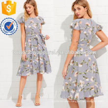 Flutter Sleeve Ruffle Hem Calico Print Dress Manufacture Wholesale Fashion Women Apparel (TA3162D)