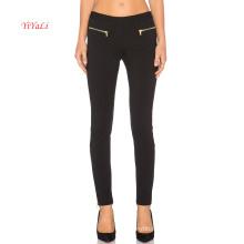 Zipper frente bolsos N Zipper perna abertura Sexy Legging