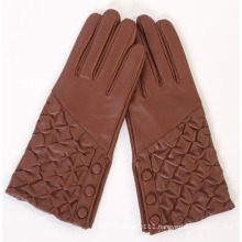 Ladies Wrinkled Back Sheepskin Leather Fashion Driving Gloves (YKY5173)
