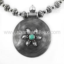 Красивый бирюзовый драгоценных камней серебряный ювелирных изделий ожерелья 925 серебряные ювелирные изделия индийских серебряные ювелирные изделия