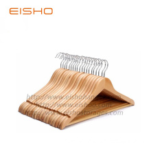 EISHO Natural Wooden Coat Hangers with Wooden Bar