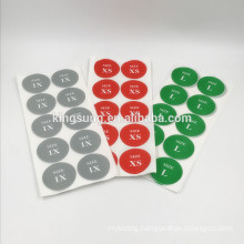 custom color clothing tag size sticker