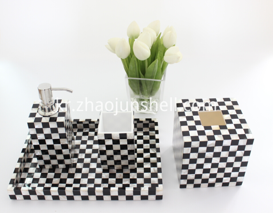 white mother of pearl bathroom accessory set