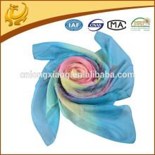 2015 Mais novos 100% lenços de impressão de seda, lenço impresso flor, lenço de primavera impresso quadrado