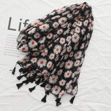 High quality cotton and linen scarf flowers printed scarf women hijab tassel scarf