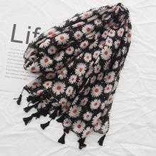 Lenço de algodão e linho de alta qualidade flores impresso cachecol mulheres hijab borla cachecol