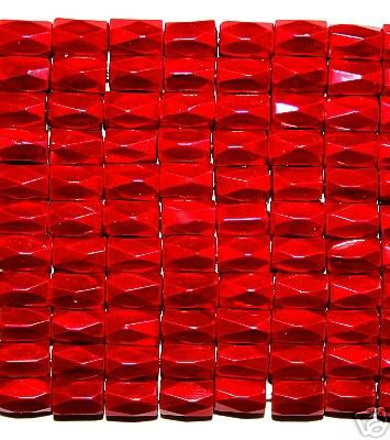Red Hematite 18 Faced Tube Beads 5X8MM Grade AB