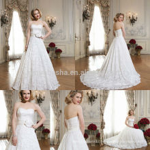Fabulous 2014 Ivory White Ball Gown Wedding Dress Sweetheart Long Tail Lace Bridal Gown With Flower Sash Accent NB0642