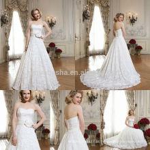 Vestido de casamento fabuloso em 2014 no marfim com vestido de bola branco Vestido de noiva com renda longa com noiva e noiva com arco de flor NB0642