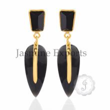 ¡Diseño real !! Pendientes de piedras preciosas de ónix negro, hechos a mano 925 pendientes de plata forma de pera