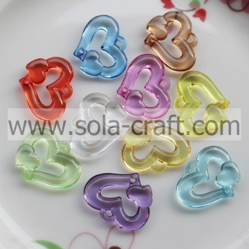 Search 5*25*32MM Clear Colors Beautiful Heart Spacer Beads Wholesale