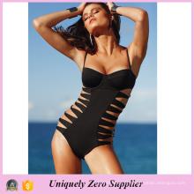 2016 Mulheres Sexy Black Hollow One-Piece Beachwear com alça de espaguete