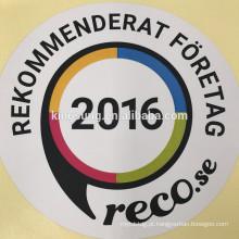 Impressão personalizada do logotipo fácil descascar a etiqueta da janela cortada à prova d 'água