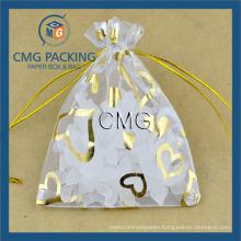 Heart Printing Drawstring Bag Jewelry Organza Bag